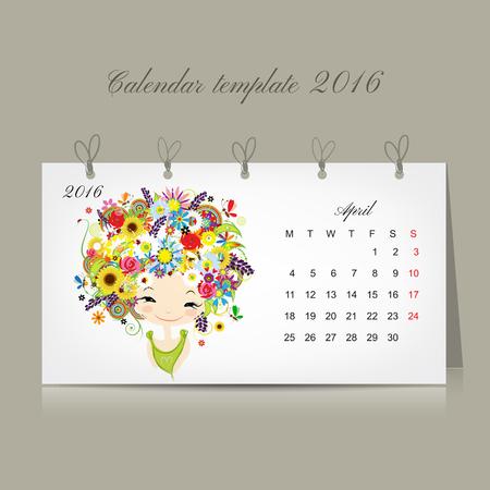 4월: Calendar 2016, april month. Season girls design. Vector illustration 일러스트