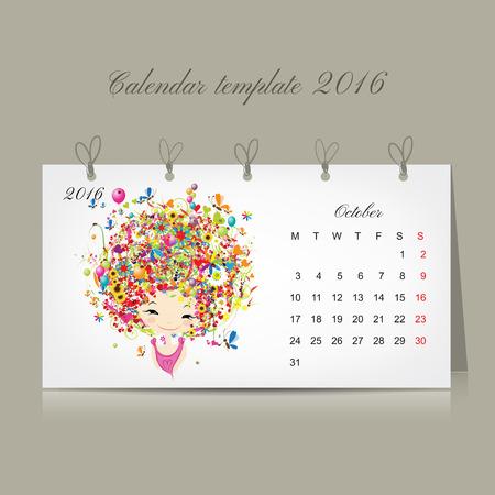 październik: Kalendarz 2016, październik miesiącu. Sezon dziewczyny projektowania. Ilustracji wektorowych