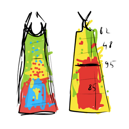 sewing pattern: Sewing dress, sketch for your design. Vector illustration
