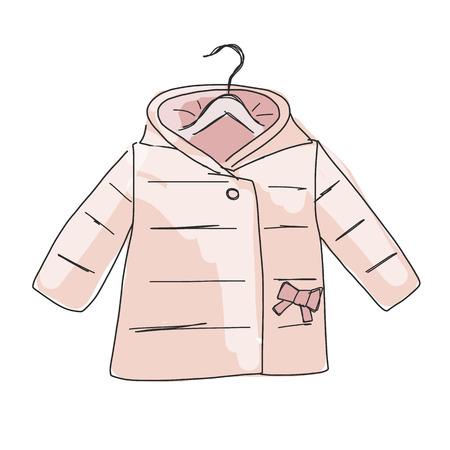 winter girl: Baby coat girl, sketch for your design. Vector illustration