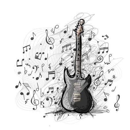 Art sketch of guitar for your design. Vector illustration