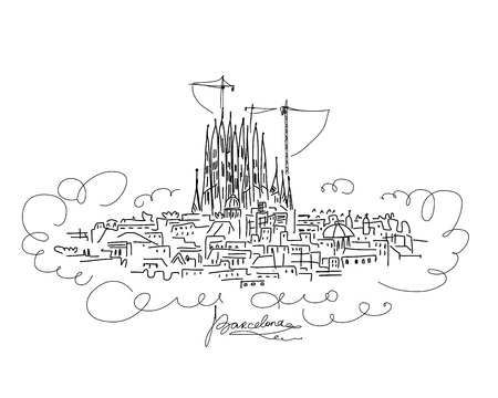 gaudi: Barcelona cityscape, sketch for your design. Vector illustration Illustration