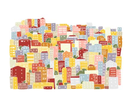 silhouette maison: Résumé de fond de paysage urbain, croquis pour votre conception. Vector illustration Illustration