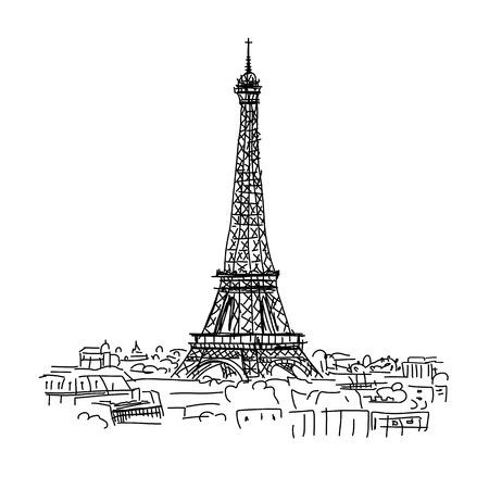 Paris,cityscape with Eifel Tower. Sketch for your design Vectores