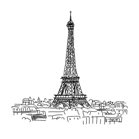 black and white image: Paris,cityscape with Eifel Tower. Sketch for your design Illustration