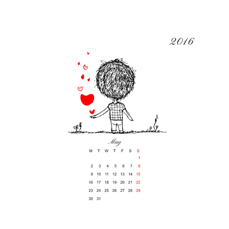 couple together: Calendar grid 2016 design. Couple in love together. Vector illustration