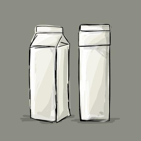caja de leche: Paquete de leche de cartón, boceto de su diseño. Ilustración vectorial Vectores