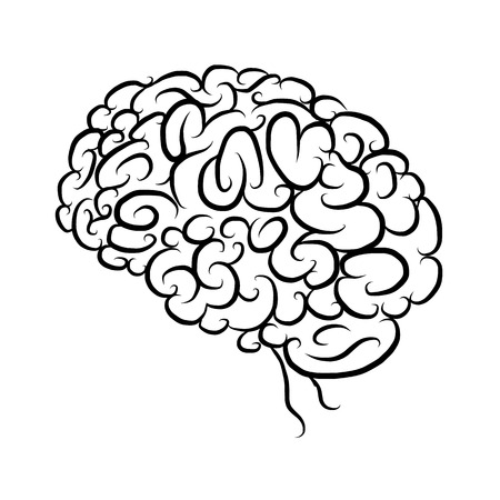 productivity system: Brain, sketch for your design. Vector illustration