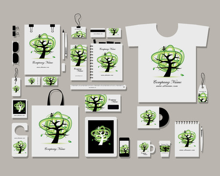 identity template: Corporate flat identity mock-up template for your design. Vector illustration