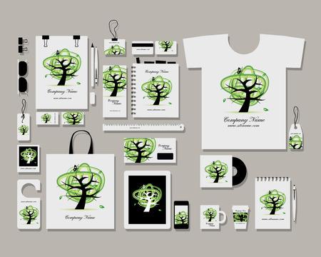 marca libros: Identidad plana plantilla maqueta Corporativa para su diseño. Ilustración vectorial