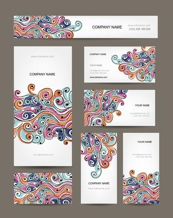 名刺コレクション抽象波デザイン