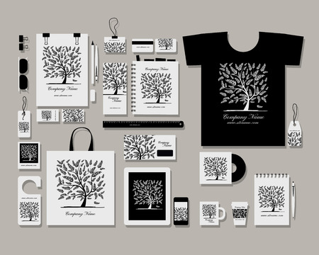 marca libros: Identidad plana plantilla maqueta Corporativa para su dise�o. Ilustraci�n vectorial