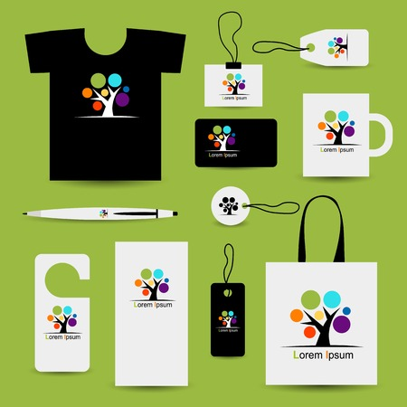 business style: Corporate business style design with art tree Illustration