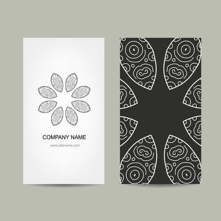 ornate background: Business card design. Ornate background, vector illustration