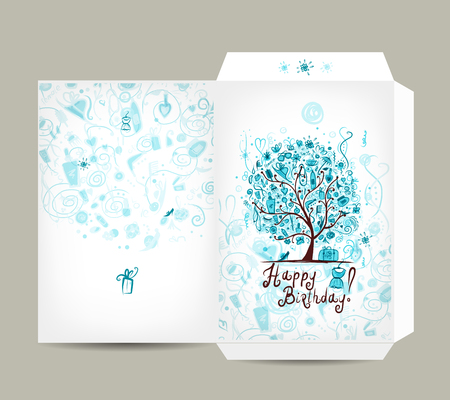 envelopes: Greeting envelope design, female birthday tree. Vector illustration
