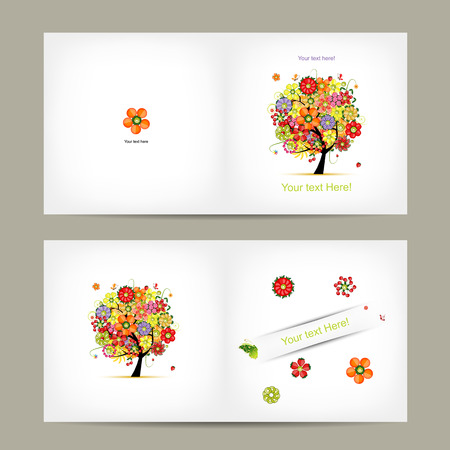 writes: Greeting card design with fruit tree. Vector illustration Illustration