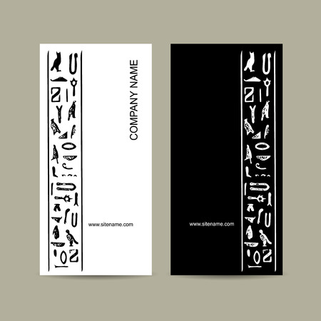 handwrite: Egypt hieroglyphs. Business cards design. Vector illustration Illustration