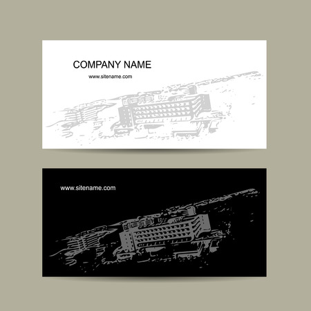 modern house exterior: Business cards design with cityscape sketch. Vector illustration Illustration