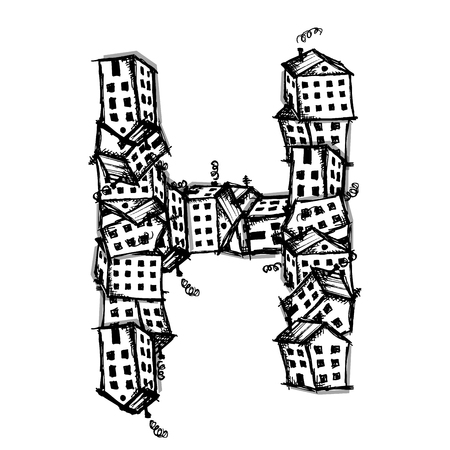 city icon: Letter H made from houses, vector alphabet for your design Illustration
