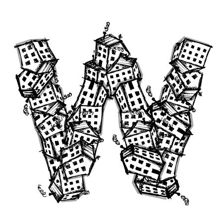 letter alphabet: Letter W made from houses, vector alphabet for your design Illustration