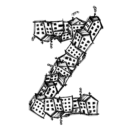 Letter Z made from houses, vector alphabet for your design