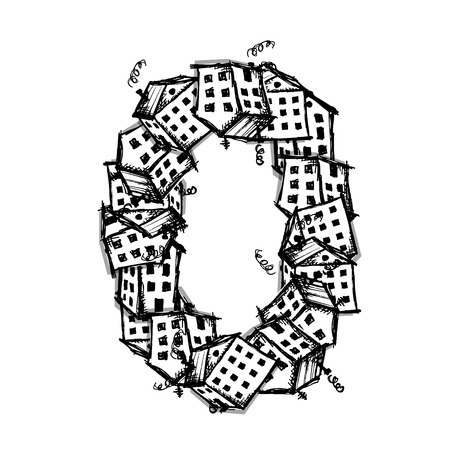 white house: Number zero made from houses, vector alphabet for your design