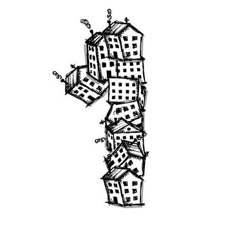 white house: Number one made from houses, vector alphabet for your design