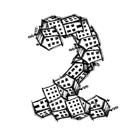 white house: Number two made from houses, vector alphabet for your design Illustration