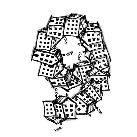 text box: Number nine made from houses, vector alphabet for your design