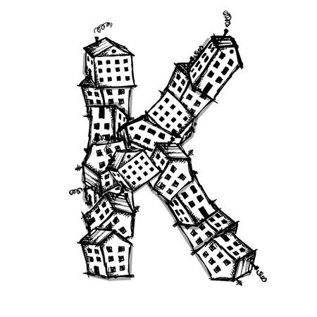 edificio industrial: Letra K hecha de casas, alfabeto vectorial para su diseño