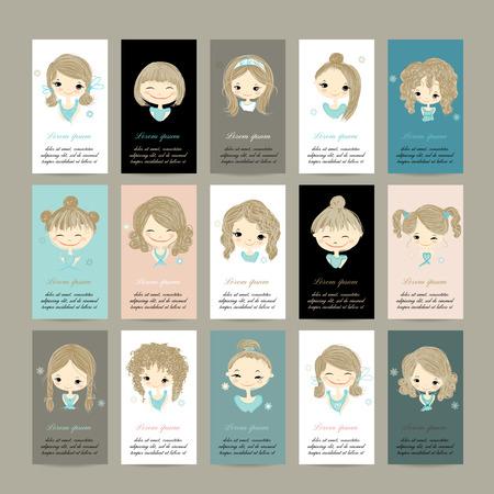 hair curly: Tarjetas de visita con chicas lindas para su diseño, ilustración vectorial