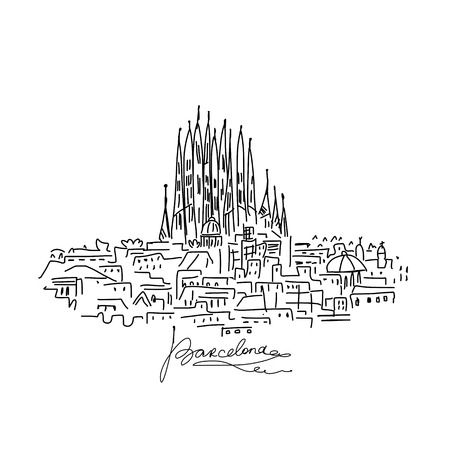 Cityscape van Barcelona, schets voor uw ontwerp. Vector illustratie Stock Illustratie