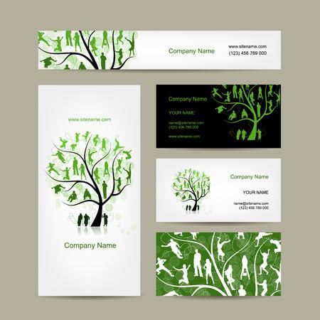 arbol geneal�gico: dise�o de tarjetas de visita, �rbol de familia. ilustraci�n vectorial
