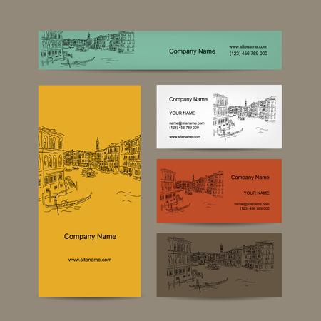touristic: Business cards design, Venice city sketch. Vector illustration