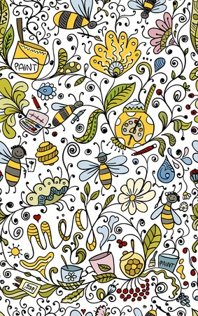 barrel tile: Abstract floral pattern with bees, sketch for your design. Vector illustration
