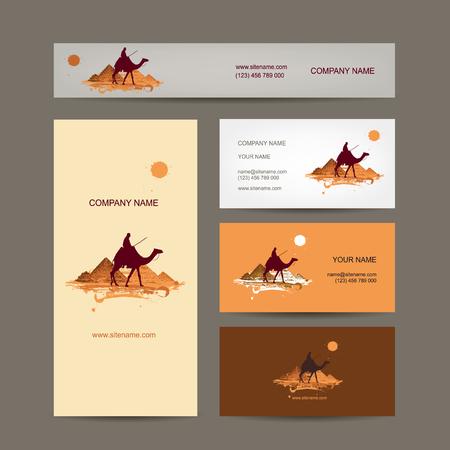 business card design: Business cards design. Traveling by camel at pyramids. Vector illustration Illustration