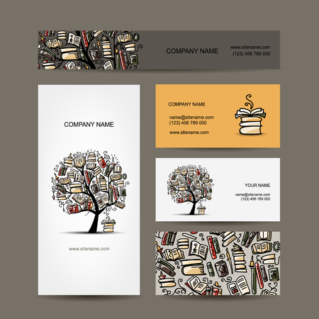 grammar: Business cards design with book tree. Vector illustration