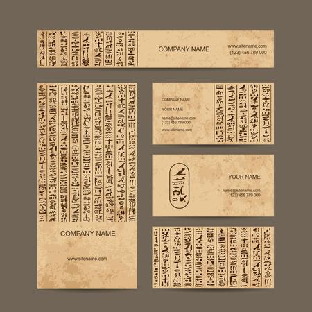 Egypt hieroglyphs, business cards for your design. Vector illustration  イラスト・ベクター素材