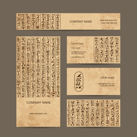 ancient papyrus: Egypt hieroglyphs, business cards for your design. Vector illustration Illustration