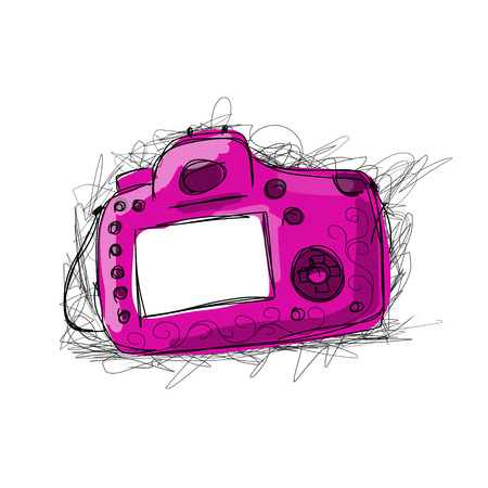 photography icon: Camera, sketch for your design. Vector illustration Illustration