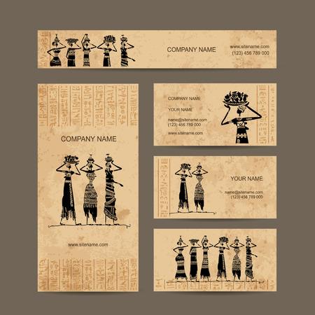 주전자와 이집트 여성의 스케치입니다. 명함 디자인, 벡터 일러스트 레이 션