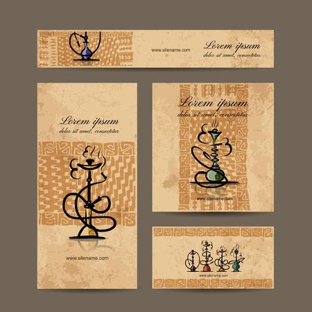 hookah: Business cards design with hookah sketch. Vector illustration Illustration