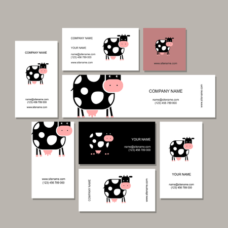 graphic design: Business cards design with funny cow. Vector illustration Illustration