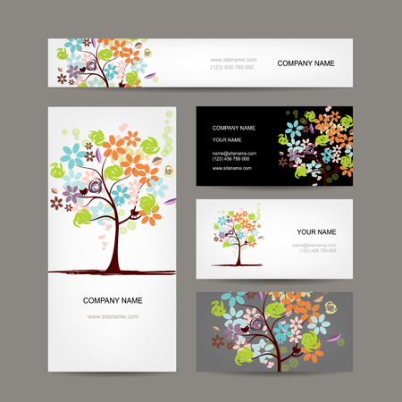 tree design: Business cards collection, floral tree design. Vector illustration Illustration