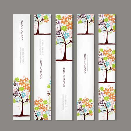 floral border: Set of vertical banners with floral tree. Vector illustration