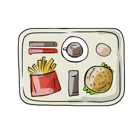 soda: Tray with fast food, sketch for your design. Vector illustration Illustration