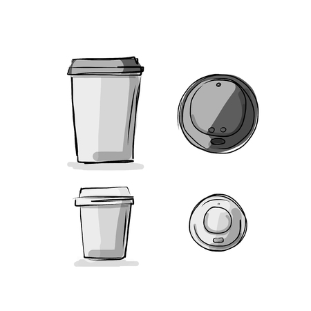to go: Take away coffee cup, sketch for your design. Vector illustration