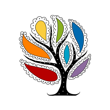 Art tree with colorful petals for your design. Vector illustration