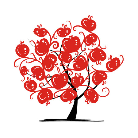 abstract fruit: Apple tree for your design. Vector illustration