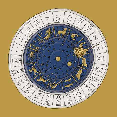 Venice zodiac clock, sketch for your design. Vector illustration Illustration